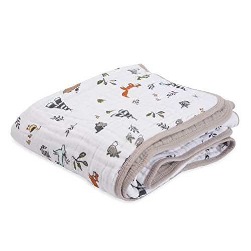 """Little Unicorn – Forest Friends Cotton Muslin Quilt Blanket   100% Cotton   Super Soft  Babies and Toddlers   Large 47"""" x 47""""   Machine Washable"""