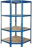 Eckregal für 60 cm tiefe Regale   ✓ 179x90x90x60cm   ✓ blau   ✓ 4 Böden je max. 175 kg Tragkraft   ✓ Schwerlastregal Metallregal Lagerregal Kellerregal Werkstattregal