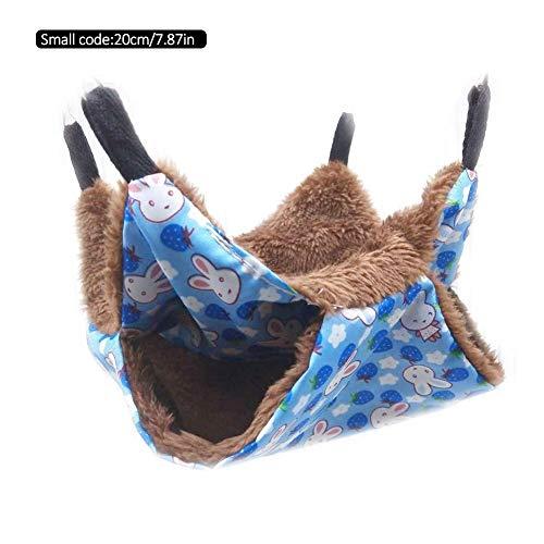 Eillybird Warme dubbellaagse hangmat, kleine hangmat, huisdier, hanggeurhoornjes, slaapzak, huisdierbenodigdheden, geschikt voor kleine huisdieren, E