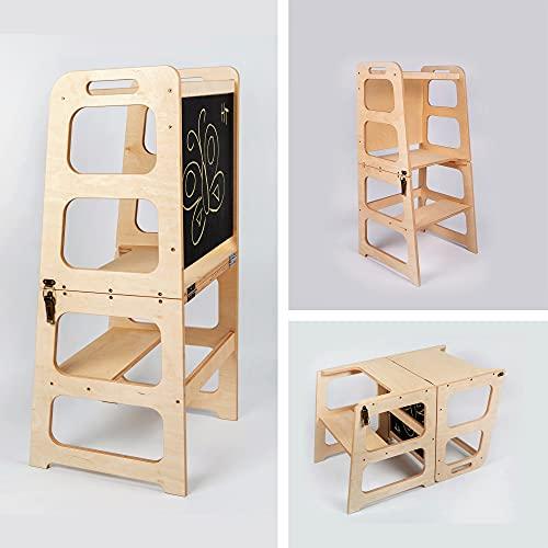 Montessori Helferturm - Tisch & Stuhl Turm mit Kreidetafel Küche Tritthocker Küchenturm wandelbarer Helferturm Küche Tritthocker für Kleinkinder