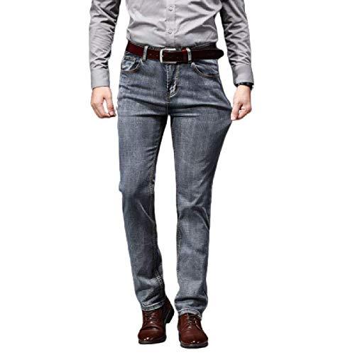 Beastle Jeans para Hombre Pantalones Vaqueros elásticos de Pierna Recta Sueltos Retro Pantalones de Mezclilla de Todo fósforo Informales de Negocios 38