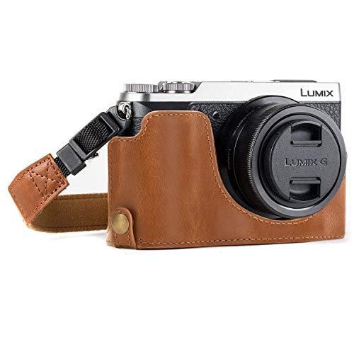 MegaGear MG974 Etui avec Bandoulière/Accès Batterie en Cuir pour Appareil Photo Panasonic Lumix DMC-GX85/GX80 Marron Clair