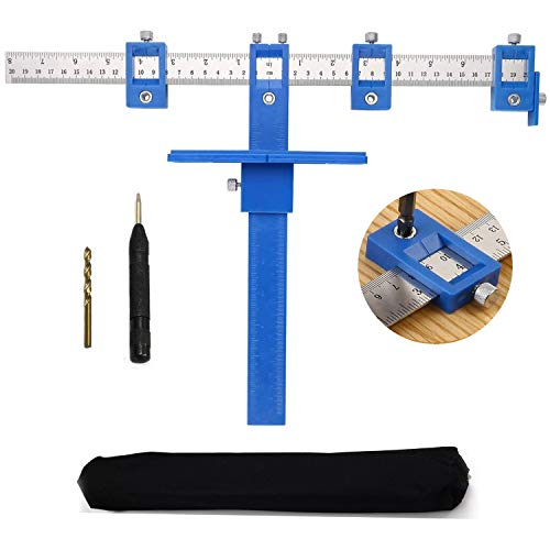 Blue Cabinet Hardware Jig Adjustable Punch Locator Drill Guide Template Wood Jigs Drilling Dowelling Tool For Installation Of Handles, Knobs On Doors And Drawer Pull With Center Punch
