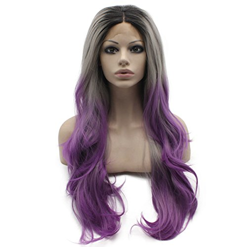 Mxangel Long Wavy Ombre Gray Purple Two Tone Natural Lace Front Cosplay Party Wig