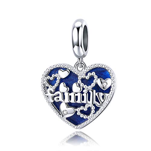 ZiNuo Charm Beads 925 Sterling Silver Charms Tree of Life Charms for Bracelets Love Heart Family Dangle Charm for Bracelet Pendant (Blue Love Family Charm)