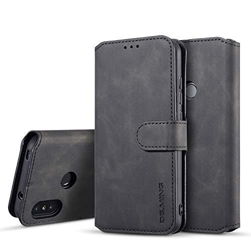 xinyunew Hülle Kompatibel mit Xiaomi Mi A2 lite Hülle,360 Grad Handyhülle + Panzerglas Premium Handy Schutzhülle Leder Wallet Tasche Flip Brieftasche Etui Schale (Schwarz)