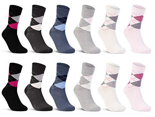 6 oder 12 Paar Damen Socken Baumwolle Kariert Karo Komfortbund - E-800 (39-42, 12 Paar | Farbmix)