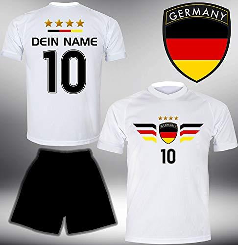 Deutschland Trikot Set 2018 mit Hose GRATIS Wunschname Nummer im EM WM Weiss Typ #DE4th - Geschenke für Kinder Erw. Jungen Baby Fußball T-Shirt Bedrucken