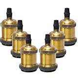 Sevenpers Portalámparas Vintage E27, 6 piezas Casquillos para Bombillas Adaptadores de Portalámparas Cerámica Edison retro lámpara, para Hogares Oficinas Bares Restaurantes (Latón antiguo)