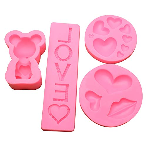 4Pcs Heart Shaped Silicone Mold, Cake Mold, Chocolate Mold, Handmade Soap Mould, kitchen Baking Tools, Heart Silicone Mold for Chocolate Cake Jelly Pudding (A)