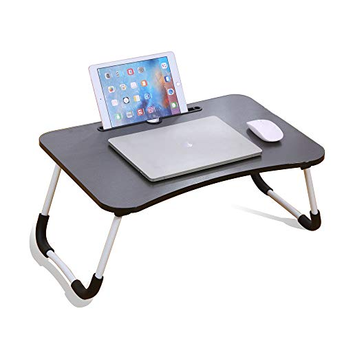 RUNQIAN Laptop Bed Table, Folding Dining Table Dormitory Table Dorm Desk For Watching Movie, Portable Reading Holder,Black