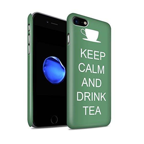 Telefoon Matte Case voor Apple iPhone 8 Keep Calm Drink Thee/Green Design Matt Hard Snap On Cover