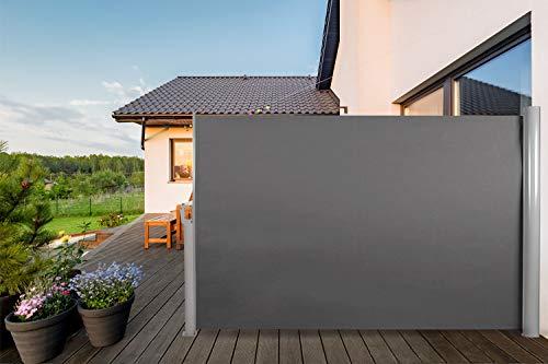 CCLIFE Aluminium Seitenmarkise Ausziehbar Wand&Bodenhalterung Sichtschutz Windschutz 240g/m² UV-Schutz