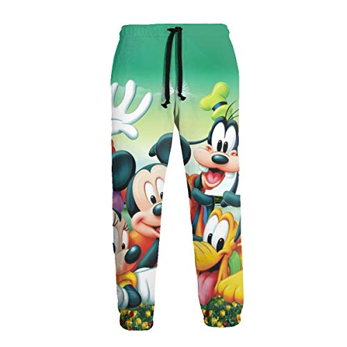 Mickey Mouse and Donald Duck Unisex Men's Sweatpants Joggers Adjustable Drawstring Pockets Sportswear Black-L