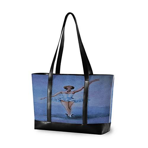 CPYang Laptop-Tragetasche 15,6 Zoll Kunst Gemälde Ballerina Canvas Schultertasche Große Handtasche Frauen Computer Tote Tasche für Arbeit Business Schule Reisen