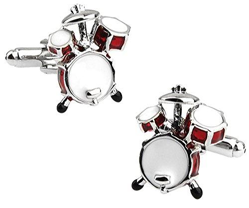 Rot Schlagzeug Manschettenknöpfe in einer luxuriösen Präsentationsbox. Neuheit. Musik. Thema Schmuck