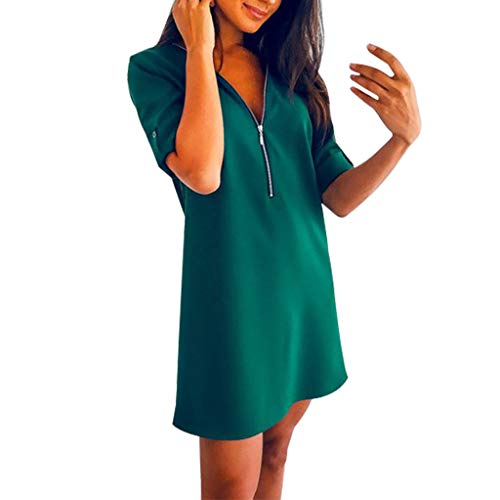 Damen Sommerkleid, Enges Mini Shirtkleid Kurzarm V Ausschnitt Bodycon Kurz Kleid mit Lang Vorne Reißverschluss Einfarbig Luftiges Schöne Kleider T Shirt Strand Party Prom Dress für Frauen