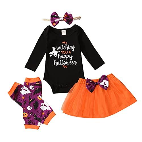BIBOKAOKE Conjunto de ropa para bebé recién nacido, camiseta de manga larga + tutú de tul, falda con diadema, calentador de piernas, conjunto de ropa para fiestas de cumpleaños