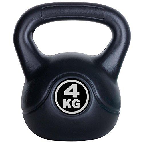 ScSPORTS FIGHTDOG Kettlebell 4 kg Kunststoff mit Zement Füllung - Kugelhantel schwarz, leise und bodenschonend