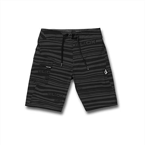 Volcom Boys' Big Logo Stripe Mod Tech 17' Boardshort, Black, 26