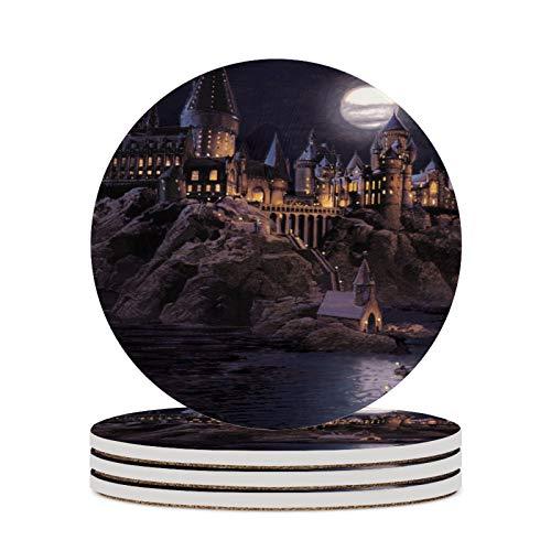 Juego de 4 posavasos de cerámica para bebidas, resistentes al calor, diseño de castillo de Harry Potter, ideal para amigos, hombres y mujeres