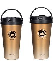 真空断熱 タンブラー ふた付き おしゃれ ステンレス 保温 コーヒー (700mlゴールド)