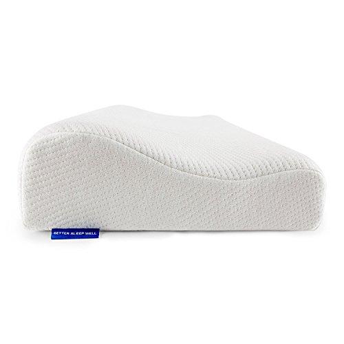 BetterSleepWell Nackenstützkissen mit 2x Bambus Naturfaser Kissenbezug 50x30 cm Höhe 10-7 cm - weiß