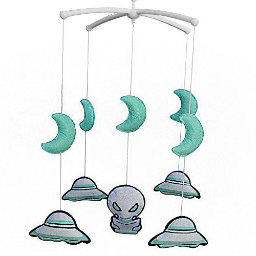 Pigeon Fleet Vert Clair à la Main bébé Berceau Mobile Enfants Chambre pépinière décor bébé Musical Mobile pour garçons, Extraterrestre et OVNI