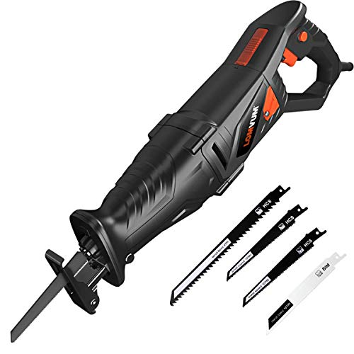 """LOMVUM 7.5 Amp Reciprocating Saw, Sawzall with Anti-Vibration Handle, 1-1/8""""(28mm) Stroke Length, 0~2800SPM and Variable Speed Trigger, 4 Blades(Wood 4T and 10T HCS, Metal 18T BIM), LED Lights"""