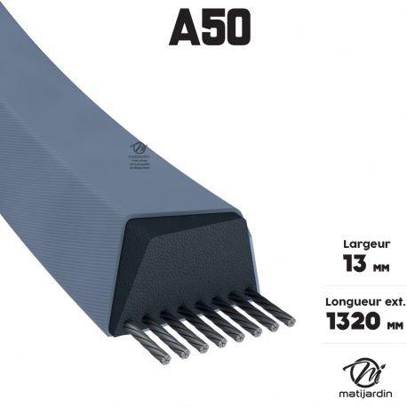 Courroie tondeuse A50 Trapézoïdale - 13 mm x 1320 mm - Pièce neuve