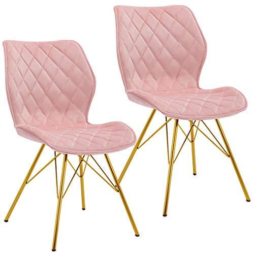 Duhome 2er Set Esszimmerstuhl aus Stoff (Samt) Polsterstuhl mit Metallgestell Retro Design Stuhl mit Rückenlehne Farbauswahl 5180J, Farbe:Hellrosa, Material:Samt