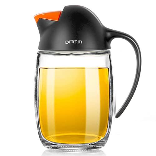 GMISUN Olive Oil Dispenser Bottle W/Auto Flip Cap, 21oz Cooking Oil Dispenser Leakproof, Kitchen True No Drip Oil and Vinegar Cruet Container with Non-Slip Handle, Cute Penguin Design(Black)
