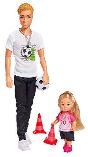 Simba Love Soccer Training / Kevin como Entrenador de fútbol con Silbato y Evi como Futbolista con Pelota y pilones, 30 cm / 12 cm, para niños a Partir de 3 años