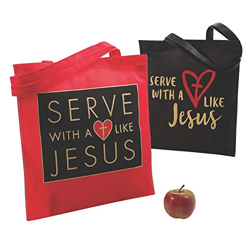 Fun Express Serve with A Heart Like Jesus Tote Bags - Apparel Accessories - 12 Pieces