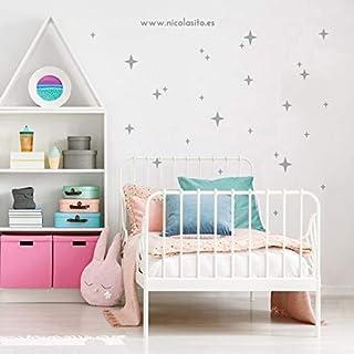 Nicolasito® Vinilos decorativos infantiles Estrellas fugaz pegatinas pared para cuarto del bebé. 62 estrellas