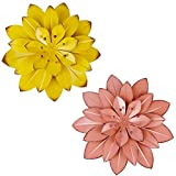 Juegoal 2 Pack 11.5 Inch Large Metal Flowers Wall Art Decor, Multiple Layer Flower for Indoor Outdoor Home Bedroom Living Room Office Garden, Coral Pink & Yellow