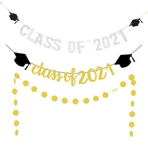 PRETYZOOM 2021 Graduation Decoration Banner Set Glitter Class of 2021 Graduation Banner Round Dots Garland Class of 2021 Hanging Bunting 2021 Gradaution Photo Background
