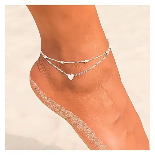 Sencillo y Elegante Tobillo Cadena piña Colgante Anklet con Cuentas 2018 Verano Playa joyería Estilo de Moda de Mujer para Regalo de joyería de Mujer (Metal Color : F148 2)