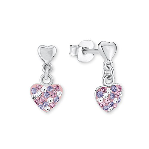 Prinzessin Lillifee Kinder-Ohrhänger Herz 925 Silber rhodiniert Kristall mehrfarbig - 2013169, Rosa/Lila, Einheitsgröße