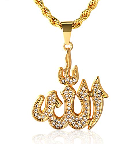 Halukakah Gold Chain for Men Iced Out,18k Real Gold Plated Allah Islam Symbol Pendant Necklace,Full Cz Lab Diamonds Prong Set,with Rope Chain 60cm,Free Giftbox