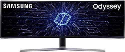 "Samsung C49HG90 Monitor Gaming Curvo, 49"", Full HD, HDR, 3840 x 1080, 1 ms, 32:9, 144 Hz, 1080p, 350cd/m2, 1 Display Port e 1 Mini Display Port, 2 HDMI, Freesync, Quantum Dot, Nero, Versione 2020"