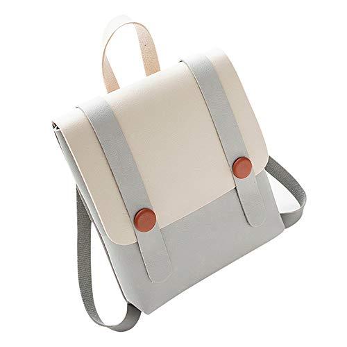 Bfmyxgs Mode Umhängetasche für Frauen Mädchen Getäfelten Haspe Hit Farbe Leder mit Weichen Rücken Student Schultasche Rucksack Umhängetasche