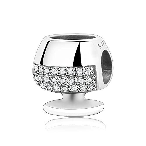 LIIHVYI Pandora Charms para Mujeres Cuentas Plata De Ley 925 Copa De Vino Tinto Joyería De Europa Compatible con Pulseras Europeos Collars