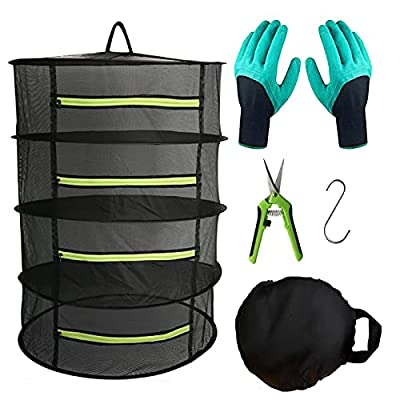 Herb Drying Rack Hanging Dryer Mesh Drying Rack with Green Zipper, 2ft 4 Layer Plant Drying Rack Dry Net Pruning Shears, Hook, Garden Gloves for Herb, Flowers, Bud, Seeds, Nuts
