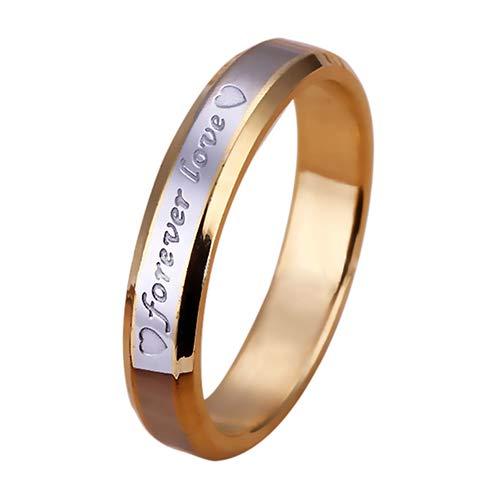 dragonaur Unisex Forever Love Gravur Edelstahl Bandring vergoldet Verlobungsring Verlobungsring Schmuck Geschenk für Männer Frauen Teenager, Geschlecht: Damen, 6 US