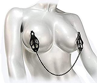 LzTech T-Shirt Black Fetish Japanese Clover Nipple Clamps Stainless Steel Pinch Nipple Clip