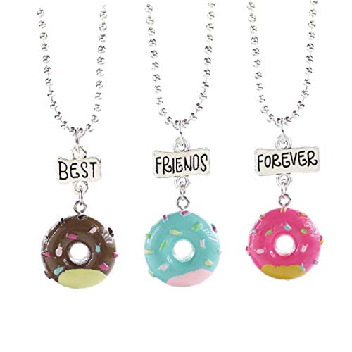 Casecover 3pcs De Los Mejores Amigos De Helado Collares Donuts Lindo Colgante Collares Amistad