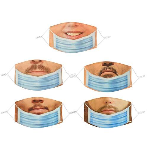 BOIYI 5 Unidades De__Reutilizable Lavable con Estampado de Expresiones Faciales de Hombre, Las_Mascarillas_ de Travesura para Adultos Adecuadas por Cenas Al Aire Libre(Verde,5PC)