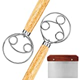 ☑️【Package Include】-It comes with 1x Danish Dough Whisk with double eyes hook Designed, 1x Danish Dough Whisk with triple eyes hook Designed, and 1 x Dough Scraper. All of them are made of premium 430 stainless steel and high quality oak, you can use...