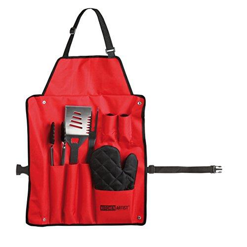 LIVOO GS46R Set barbecue tablier, 6 accessoires, Rouge